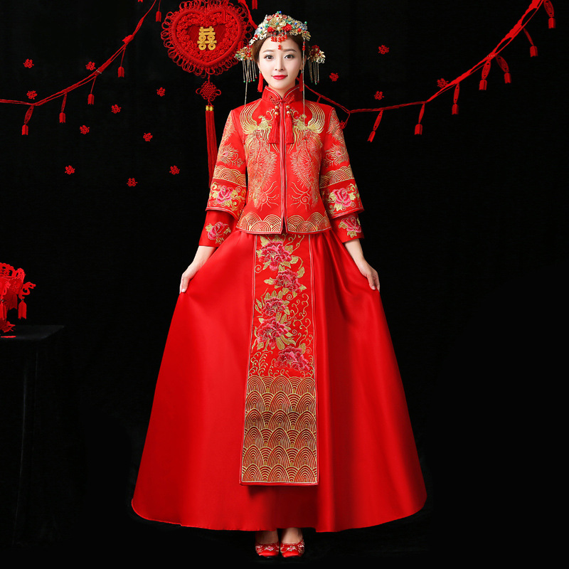 Traditional Chinese Wedding Gown Bride Traditions Red Cheongsam Long Qipao Dress Oriental Style Dresses Robe Longue Chinoise