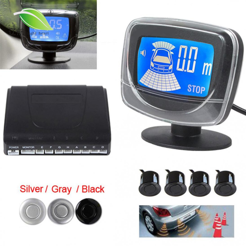 Universal Car Auto LED Parking Sensor System 4 Sensors Car Backup Reverse Dual CPU System with Step-up Alarm LCD Display