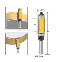 1Pcs 1/4 Shank 1 Cutter Top &Bottom Bearing Flush Trim Router Bit For Woodworking Tool JF1484 new extra long flush trim router bit 1 4 shank woodworking cutter 3 8 cutting diameter 2 height for power tool