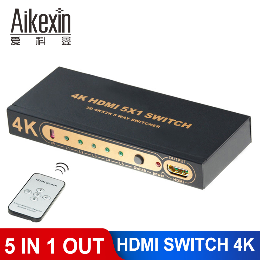 Aikexin HDMI Switcher, 4K Ultra HD 1080P 5 Port HDMI Switch 5×1 Amplifier Selector Splitter Hub with Remote Control