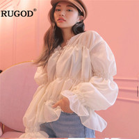 RUGOD Spring Summer Blouses Women Elegant Solid Long Puff Sleeve Blouse Fashion Casual V Neck Shirt Loose Blusa Kimono Harajuku