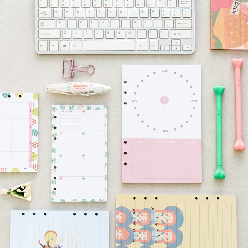 Creative Illustration Filler Paper For Dokibook Spiral Planner A5 Personal Diary Notebook Refill Office School Supplies creative illustration filler paper for