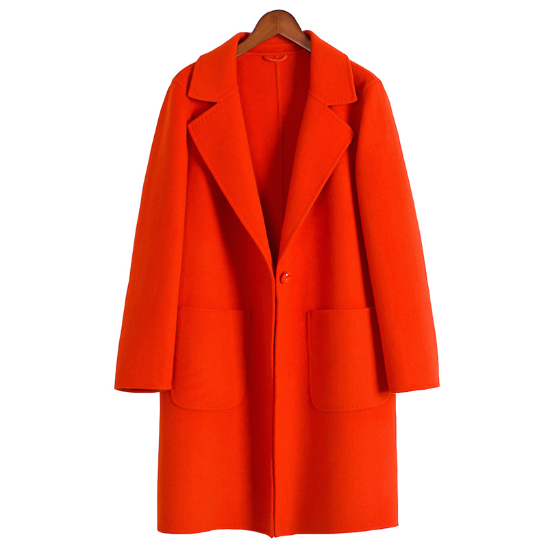Popular Orange Wool Coat-Buy Cheap Orange Wool Coat lots from ...