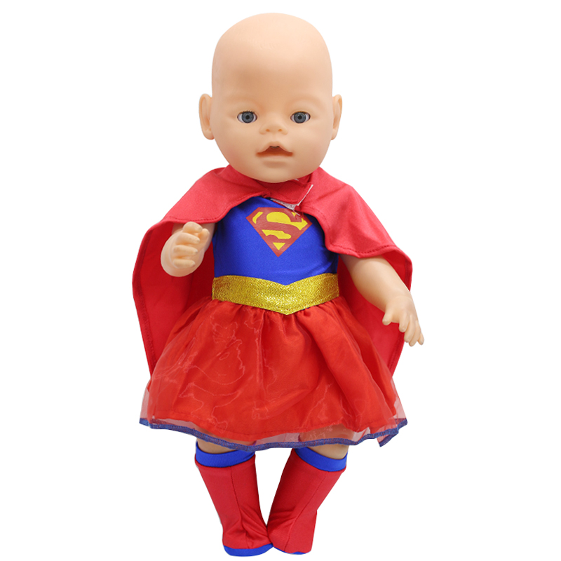 Baby Doll Clothes Superman Clothing + Cloak + Socks Suit Fit 43cm Zapf Baby Doll Accessories Birthday Gift X-141 superman and spider man cosplay costume doll clothes fit 43cm baby born zapf doll accessories handmade child birthday gift t 5