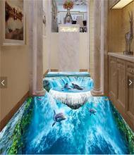 3d pvc flooring custom photo mural picture wall sticker beautiful Waterfall sea floor painting room wallpaper for walls 3d
