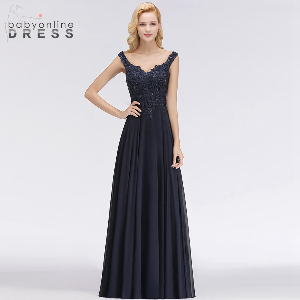 New Arrival Luxury V Back Design Crystal   Evening     Dresses   Fashion Chiffon Floor Length V Neck Stright Lace   Evening   Gown Robe