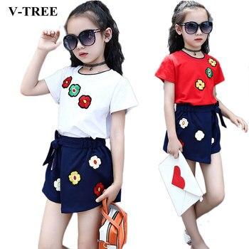 d11c6e90fe3a V-TREE conjunto de ropa de verano para niñas, camiseta de manga corta + Pantalones  cortos, trajes deportivos, chándal bordado Floral para niños de 3-10 años  ...