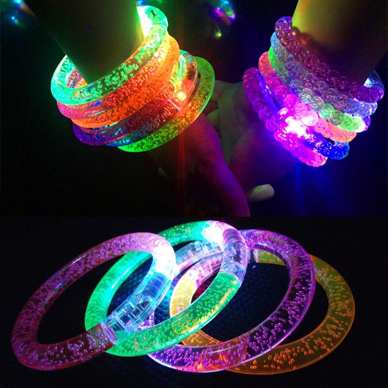 Light up Bracelet Acrylic Flash LED Light Emitting Electronic Bracelet Luminous Glowing Bracelet Toys For Christmas TSLM1