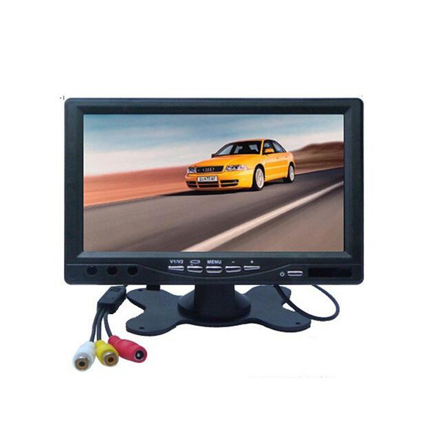 7 Pulgadas a Color TFT LCD DC 12 V Del Coche Del Monitor de Visión Trasera Pantalla reposacabezas Con 2 Canales de Entrada de Vídeo Para VCD DVD Revertir cámara