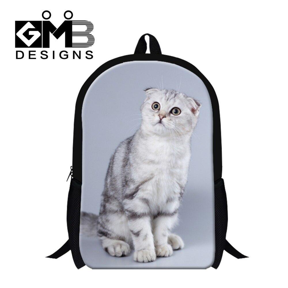 7a2d30d044c95 Projektant Kot Wzór torby szkolne dla dziewcząt, szkocki Złóż 3D Drukowane  Day Pack dla Dzieci, Moda Na Ramię plecak dla Chłopców
