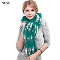 NGSG Real Mongolian Sheep Fur Scarves Green Women Coat Fur Wool Scarf Curly Tibetan Sheepskin Stripe White Woolen Fur Collar