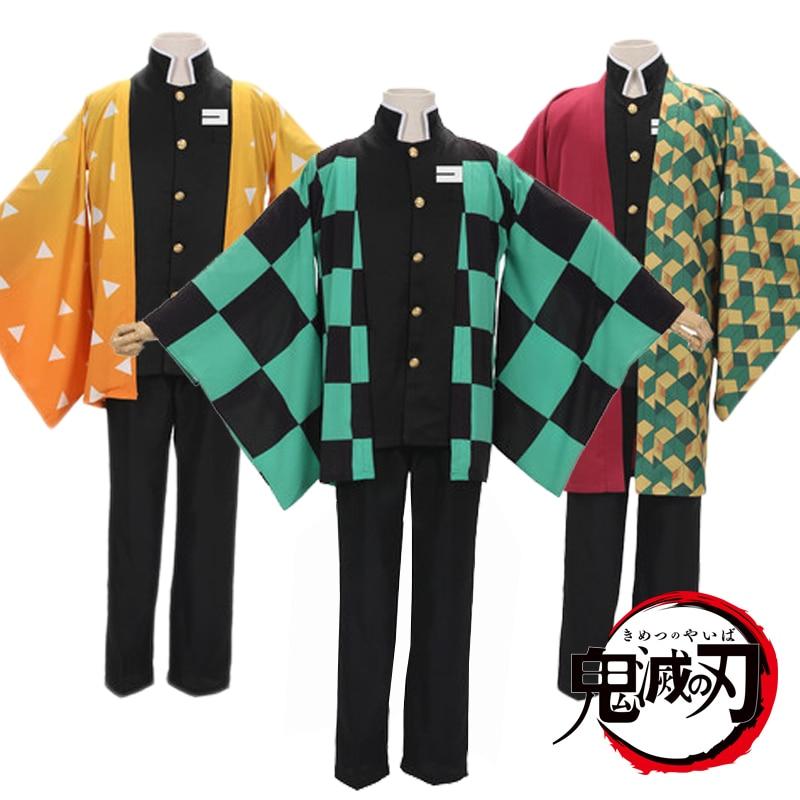 Anime Demon Slayer Kimetsu No Yaiba Cosplay Costumes Uniform Yukata Outerwear Haori Kamado Tanjirou Full Set S-2XL