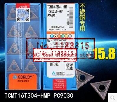 TCMT32.51-HMP CNC Carbide Inserts 10Pcs KORLOY TCMT16T304-HMP PC9030