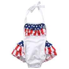 Summer Newborn Baby Girls Ruffles Sleeveless Straps US Flag Romper Backless Jumpsuit Cake Sunsuit Outfits Clothes