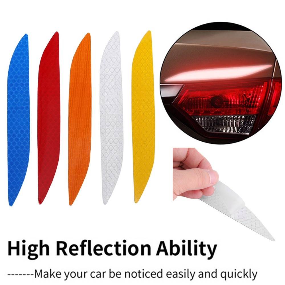 1 Pair Car Taillight High Reflection Stickers Nighttime Warning Sign Sticker Automobile Eyebrows Decoration