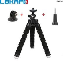 LBKAFA Mini Esponja Flexível Octopus Tripé + Adaptador + Parafuso Para Gopro Hero 6 5 4 + 3 SJ4000 SJCAM SJ5000 SJ6 SJ7 M20 YI