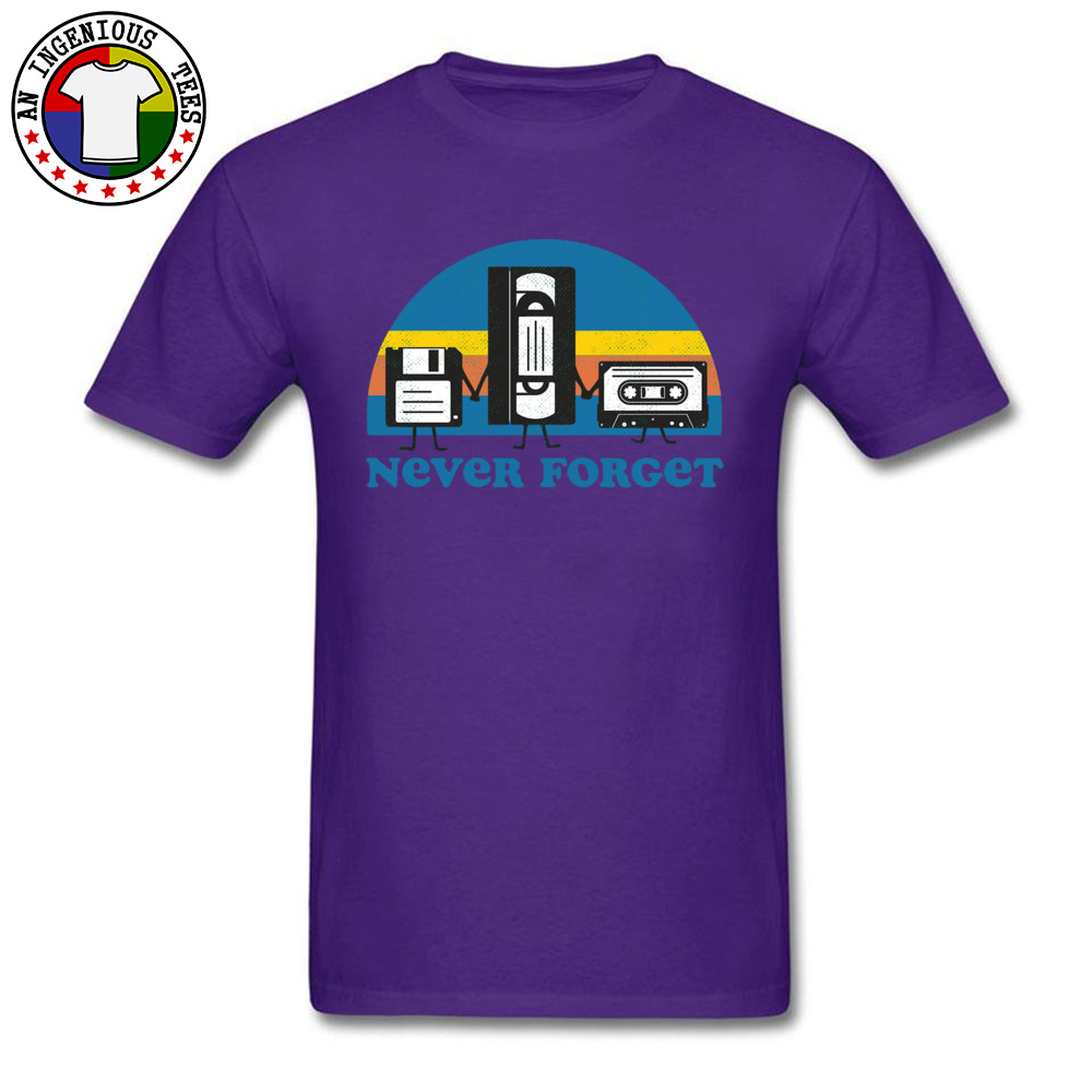 Never-Forget-disc-cassette- Family Tops Shirts for Men 100% Cotton Fall Crewneck Tshirts Simple Style Tops T Shirt Discount Never-Forget-disc-cassette- purple