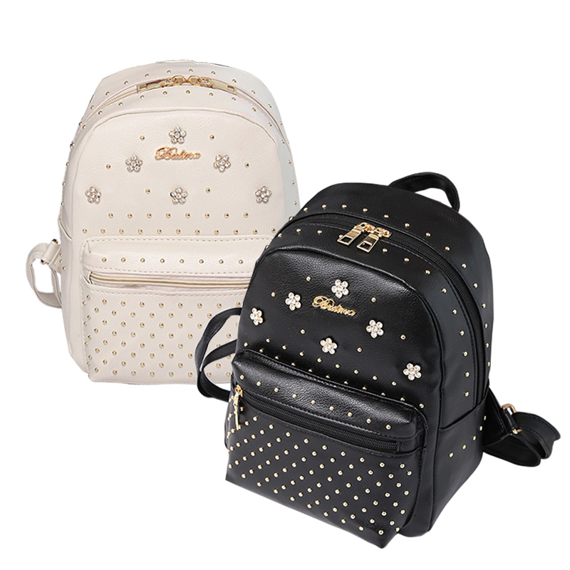 Ladies Casual Shoulder Bag PU Leather Zipped Flowers Rivets Decoration Popular Women Travel Backpack Fashion Girls School Bags just star brand design elf hardware casual pu women leather ladies girls backpack school travel shoulders bags