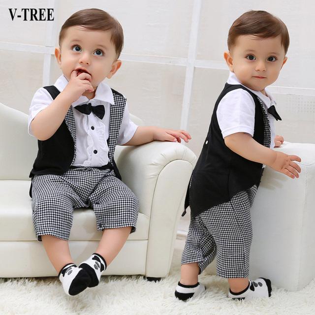 Niño leotardo gentleman tuxedo ropa de recién nacido mono del bebé de los mamelucos de manga corta para bebés niños trajes para a boy