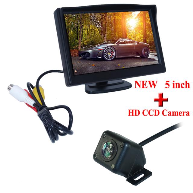 Venta caliente CCD Universal del coche cámara trasera de aparcamiento de copia de seguridad A Prueba de agua inversa cámara de visión trasera + 5 pulgadas TFT monitor del coche del espejo LCD