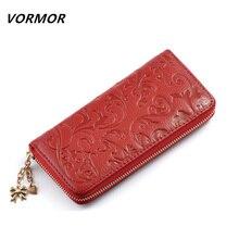VORMOR Brand New Fashion Genuine Leather Clutch Bags Long Embossing Women Wallet Money Clips Female Big Purse