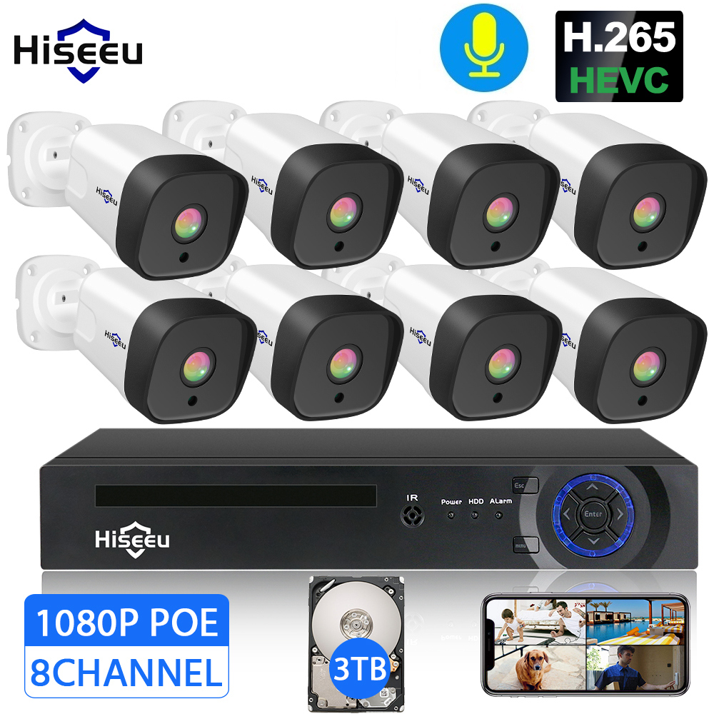 H 265 Audio 8CH 1080P POE NVR CCTV Security System 4PCS 2MP Record POE IP Camera