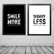 2pcs/lot Smile More Worry Less Inspiration Canvas Painting Poster, Wall Stickers Picture For Home Decoration Print