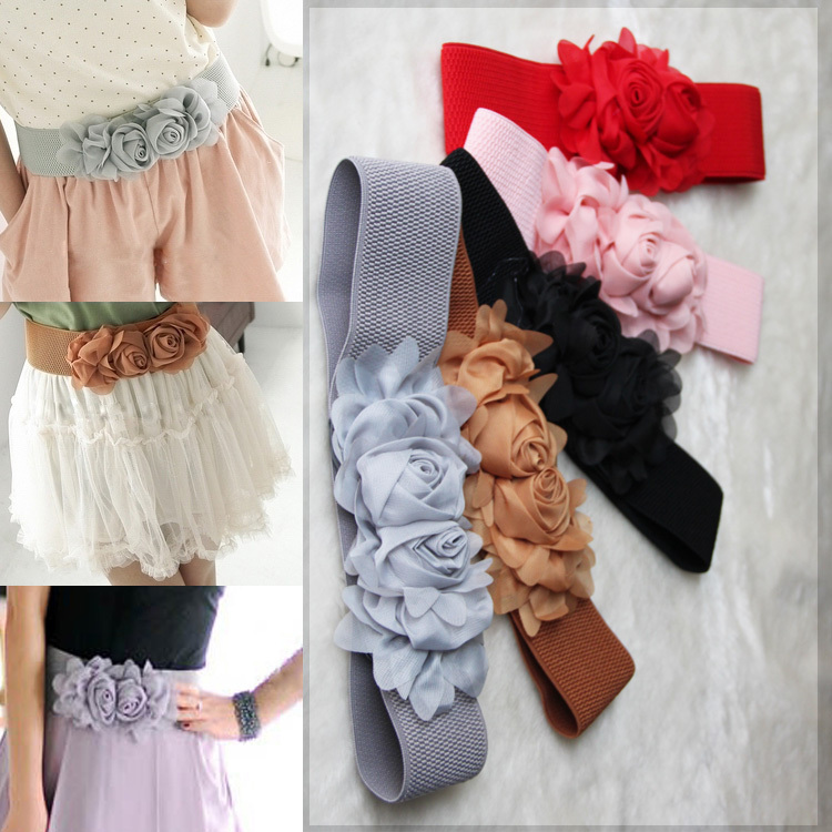 Double Flower Cummerbund Female Chiffon Elastic Belt Decoration