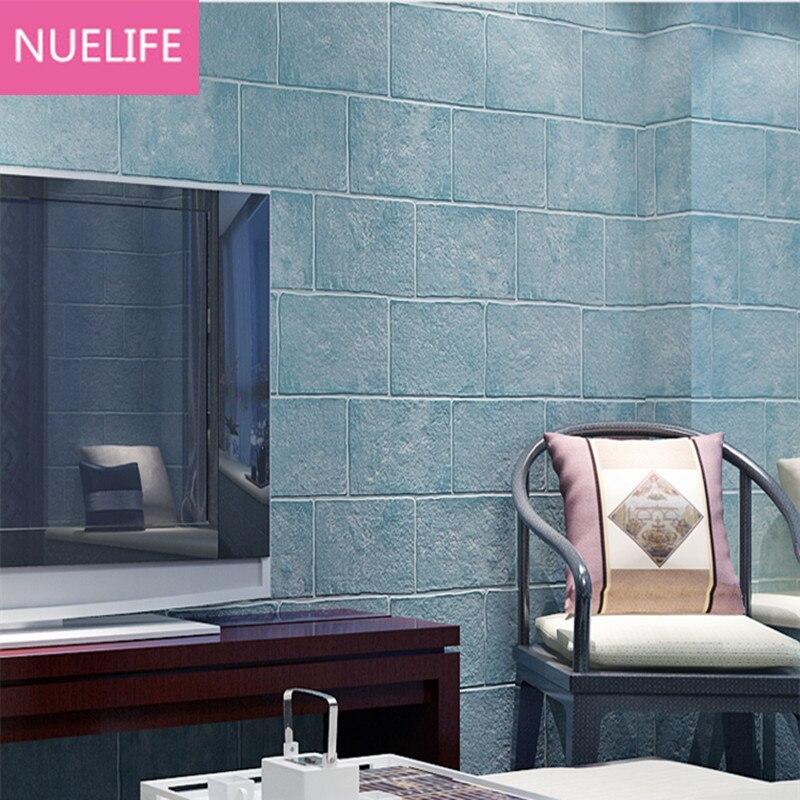 0.53x10 Meter Chinese style  brick pattern black gray pattern nonwoven wallpaper  living room bedroom sofa TV wallpaper