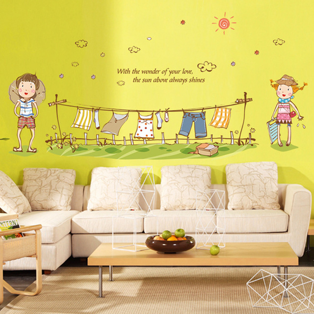 Lovely Girl Boy Hanging Clothes Laundry DIY Removable Wall Stickers ...
