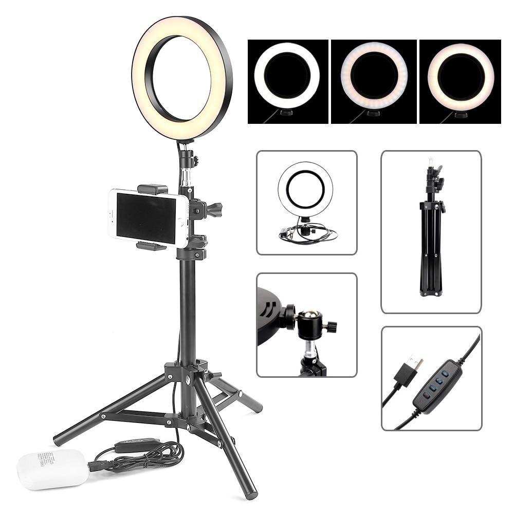 ET Desktop LED Ring Light Selfie Ring Lamp for iPhone Samsung Android Phones Professional Photo Studio Light with Phone Holder
