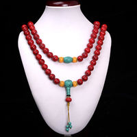 China Collectibles Handwork Old Red Coral Beeswax Toyed Prayer Bead Necklace
