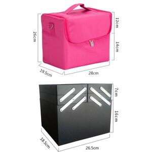 Image 3 - Fashion Women Makeup Organizer Large Capacity Multilayer Clapboard Cosmetic Bag Case Beauty Salon Tattoos Nail Art Tool Bin