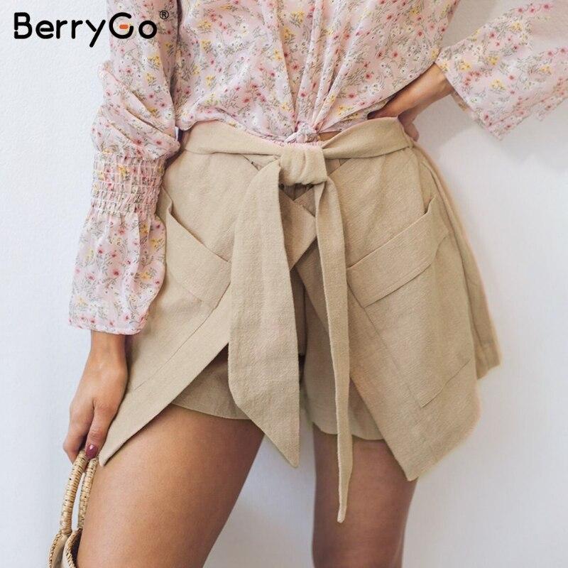 BerryGo Elastic high waist linen   shorts   women cotton Bow sash pocket hot pants casual streetwear   short   pants Female sexy   shorts