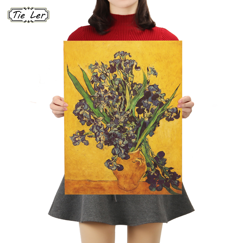 TIE LER Iris Flower Poster Van Gogh Famous Artist Art Print Poster Wall Picture Oil Painting Home Wall Decor 45.5X35cm