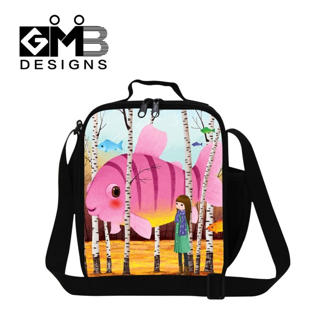 e9f5fb0041a7 Personalized Illustration printed insulated lunch bag for girls cute ocean lunch  box bag for children