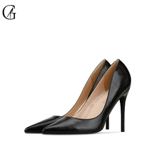 Купить с кэшбэком GOXEOU Women'sPumps Thin Heel High Heels Sexy Pointed Toe Shining Handmade Office Ladies Shoes size32-46