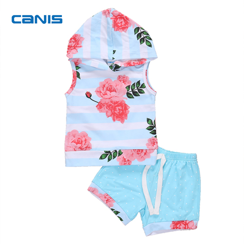 2Pcs Sleeveless Baby Girls Summer Clothes Set Newborn Baby Girl Hooded Flower Tops Shorts Pants Legging Outfits Set Clothes