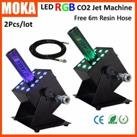 2 PCS/LOT MOKA high quality Colorful CO2 Jet spray smoke machine led dmx effect CO2 Cannon with 6m hose