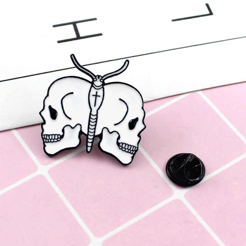 Скелет Череп Эмаль заколка с бантом Bone готический панк броши-Значки для лацкана рюкзак куртки сумки Хэллоуин ювелирные подарки для мужчин Дети