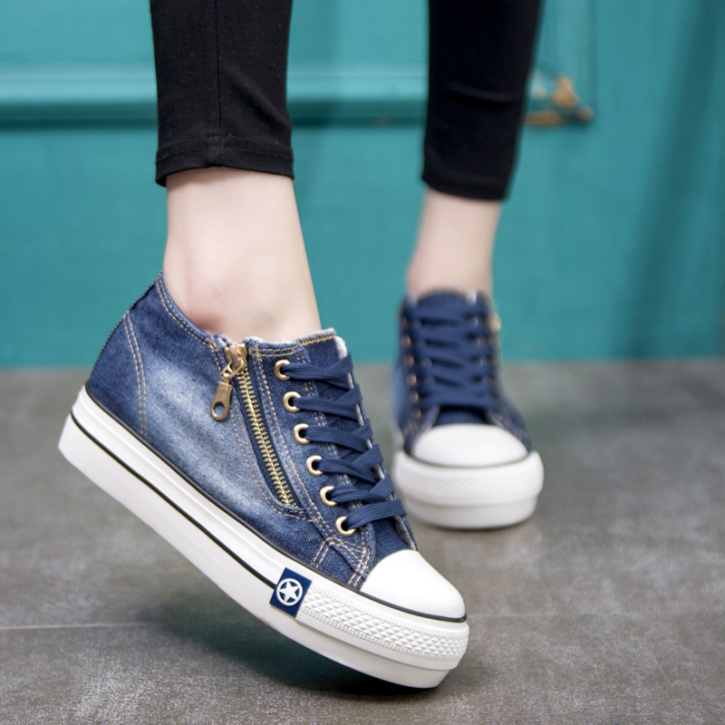 Spring/Autumn Women's Vulcanize Shoes Denim Canvas Shoes Woman Increased Platform Sneakers Lace-Up Shallow Womens Shoes
