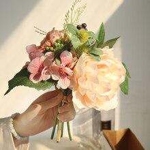 4 Colors Silk Rose Dahlia Berry Hybrid Artificial Flower Bridal Bouquet Wedding Decoration DIY Home Party