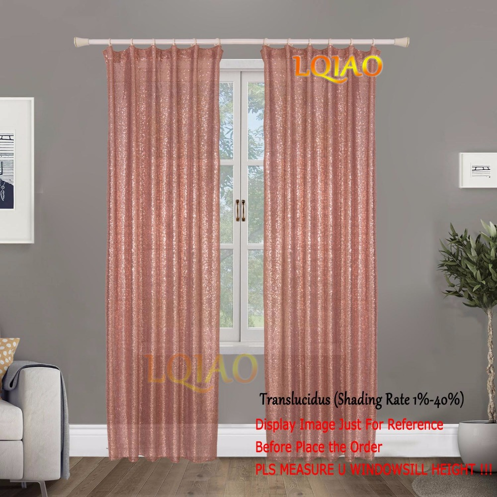 LQIAO (2 Panels) Hook/Pocket Top Glitter Sequin fabric Curtains for Living Room/Party/Wedding Decoration 60x250cm Rose Gold-in Curtains from Home & Garden    1