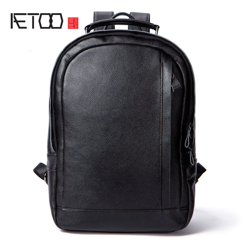 AETOO Leather backpack shoulder bag cowhide large backpack casual leather travel men's bag large capacity large capacity casual man backpack