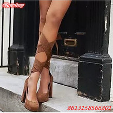 Ankle Strap Round Toe Women Boots Cross-tied Sexy High Heels Female Pumps Slip-on Square Heels Ankle Boots Ladies Casual Shoes