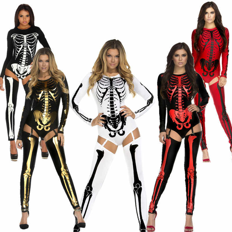 Демонический Череп Скелет комбинезон Для женщин Хеллоуин костюм Bodycon устанавливает череп печати пикантные Клубные комбинезон для взрослых комбинезон вечерние Косплэй
