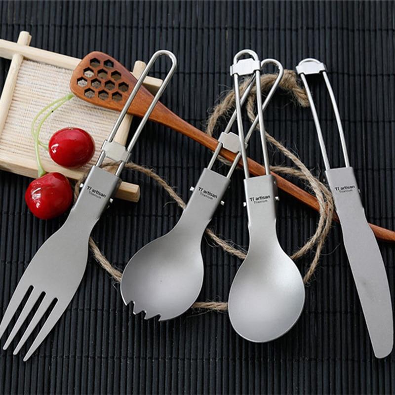 Triartisan Titanium Flatware Cutlery Set Knife Fork Spoon Outdoor Camping Travel Pure Titanium Dinnerware Set With Mesh Bag