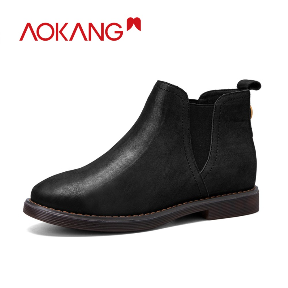 AOKANG Autumn&Winter chelsea boots women genuine leather slip on flat heels shoes woman round toe fashion Zapatos Mujer