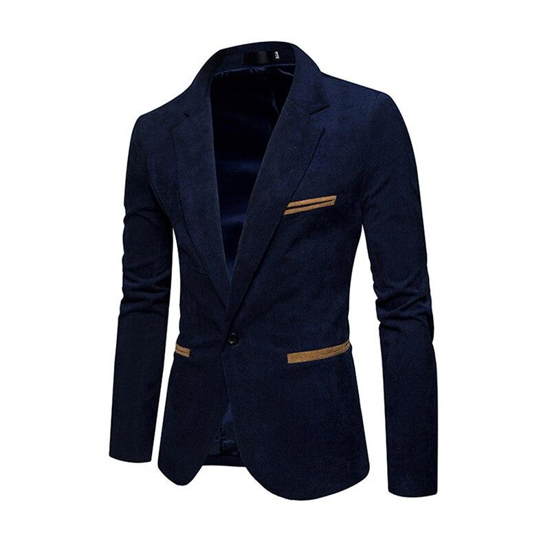Nuevos hombres de moda casual Corduroy Blazers hombres solo botón ocio Delgado traje chaqueta de alta calidad y costo caqui azul Marino rojo