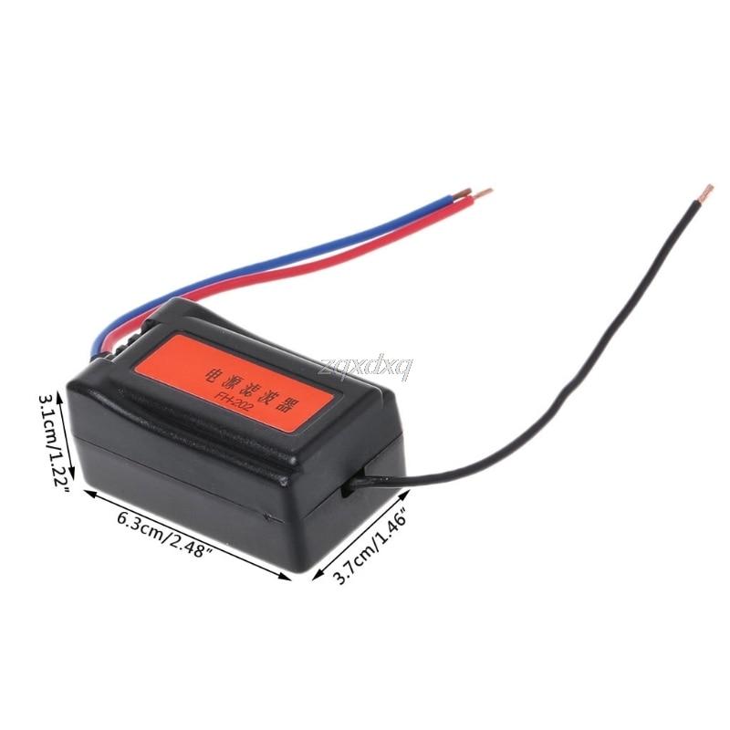 1 шт. DC 12 В блок питания Предварительно проводной черный пластик аудио фильтр питания для автомобиля VEA22P фильтрация для аудио